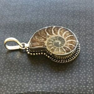 Artisan Ethnic Tribal Jewelry - Ammonite Fossil Pendant Necklace